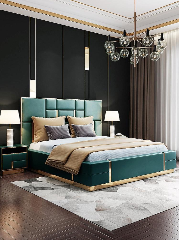 Cama de cuero de lujo ligera y moderna para dormitorio, mueble de...