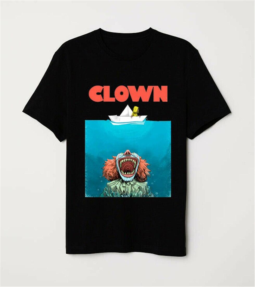 Tiburón cartel parodia de Stephen King Pennywise payaso divertido Horror negro camiseta