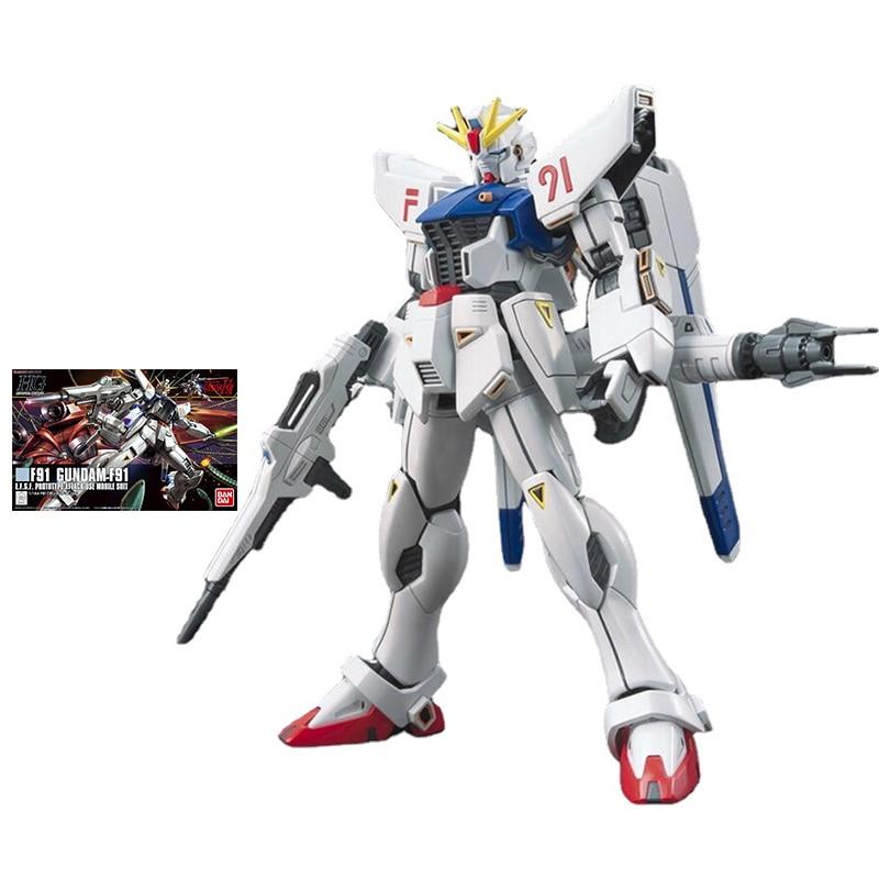 Набор моделей Bandai Gundam HGUC 1/144 F91 Gundam F91, оригинальная модель робота, декоративная экшн-игрушка, фигурка, игрушки для детей