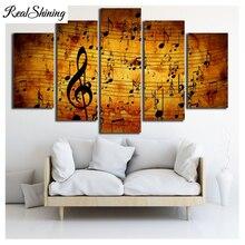 5 pièces 5D bricolage pour peinture à diamant   Note musicale, mosaïque, carré rond de broderie, décor pour la maison FS6809