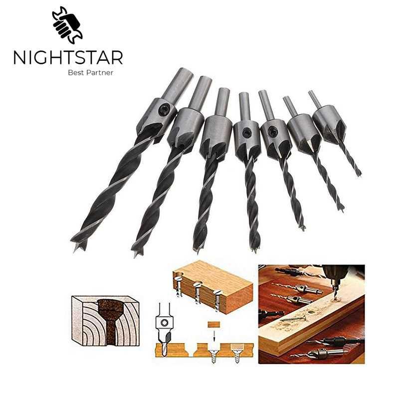 7Pcs 3 4 5 6 7 8 10mm Hss 5 Flöte Senker Bohrer Set Reibahle Holzbearbeitung Fase werkzeuge