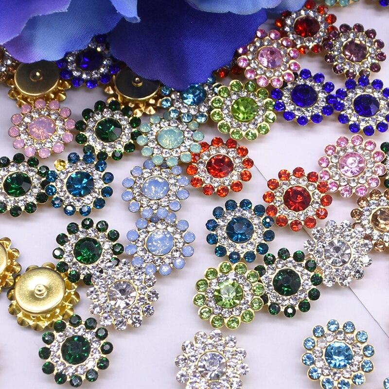 100 pçs 14mm garra copo strass strass espumante girassol-em forma de strass botões vestuário costura suprimentos diy artesanato