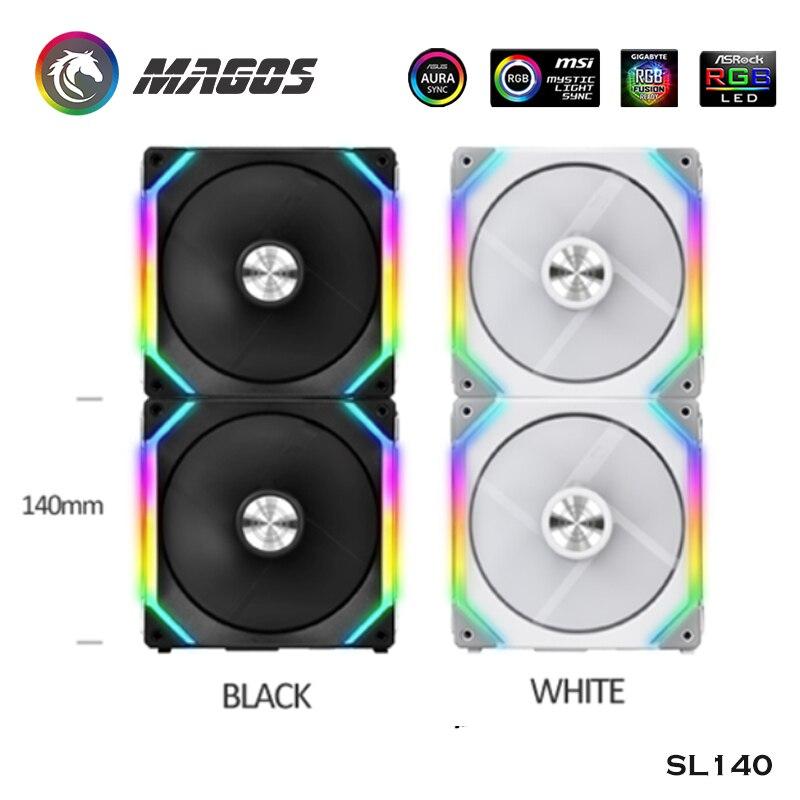 ليان لي RGB يوني مروحة 140 مللي متر مع المصابيح عنونة دعم مزامنة أسود/أبيض SL140