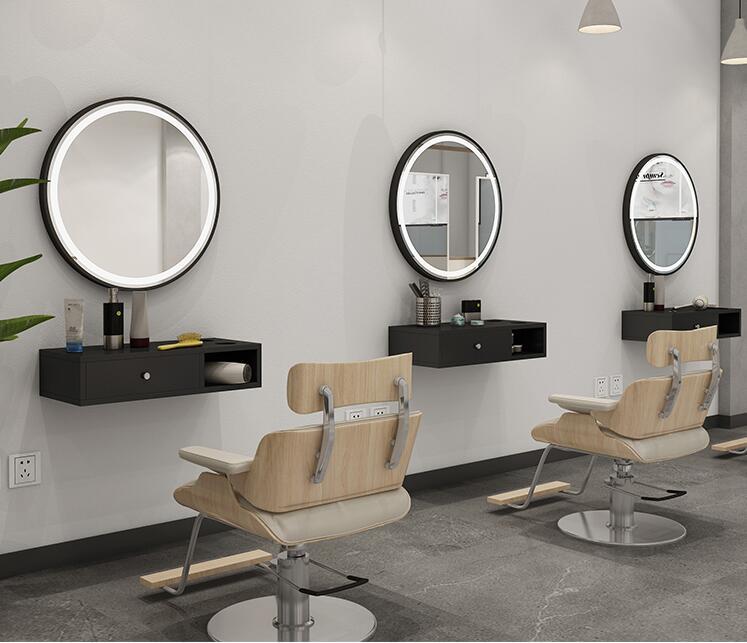 Алюминий сплав frame парикмахер магазин зеркало для салона красоты стол один круглый один волос зеркала салонное зеркало настенное зеркало