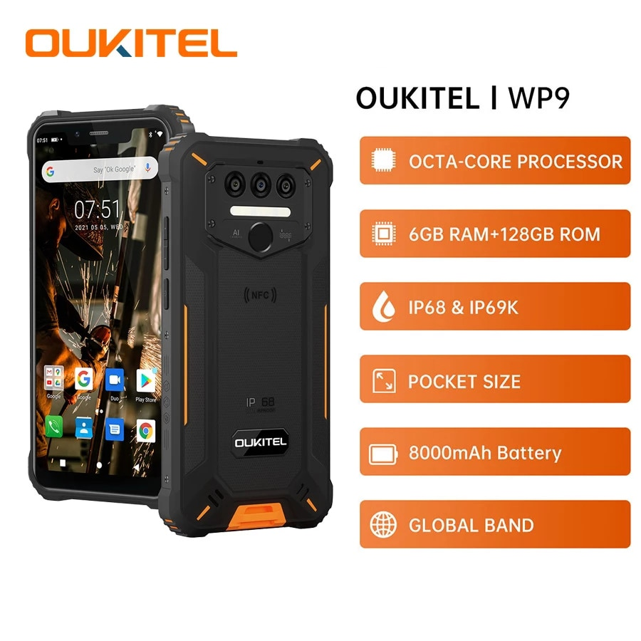 """Oukitel WP9 Rugged Smartphone NFC 6GB 128GB 5.86""""HD+ Android 10 4G LTE Mobile Phone 8000mAh 16M/8M Camera Octa Core Cellphone"""