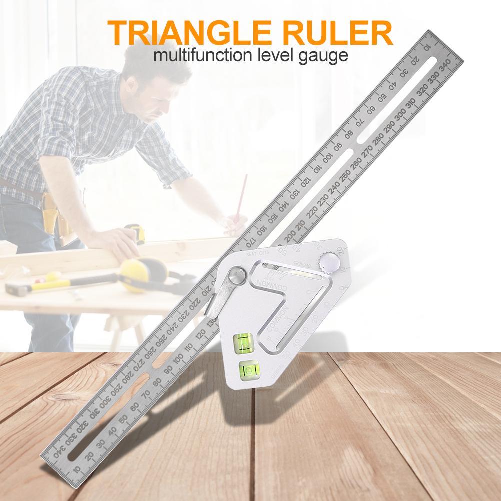 Regla de ángulo de medición multifunción regla para carpintería triangular con herramientas de medición de escala transportador de instrumentos de nivel
