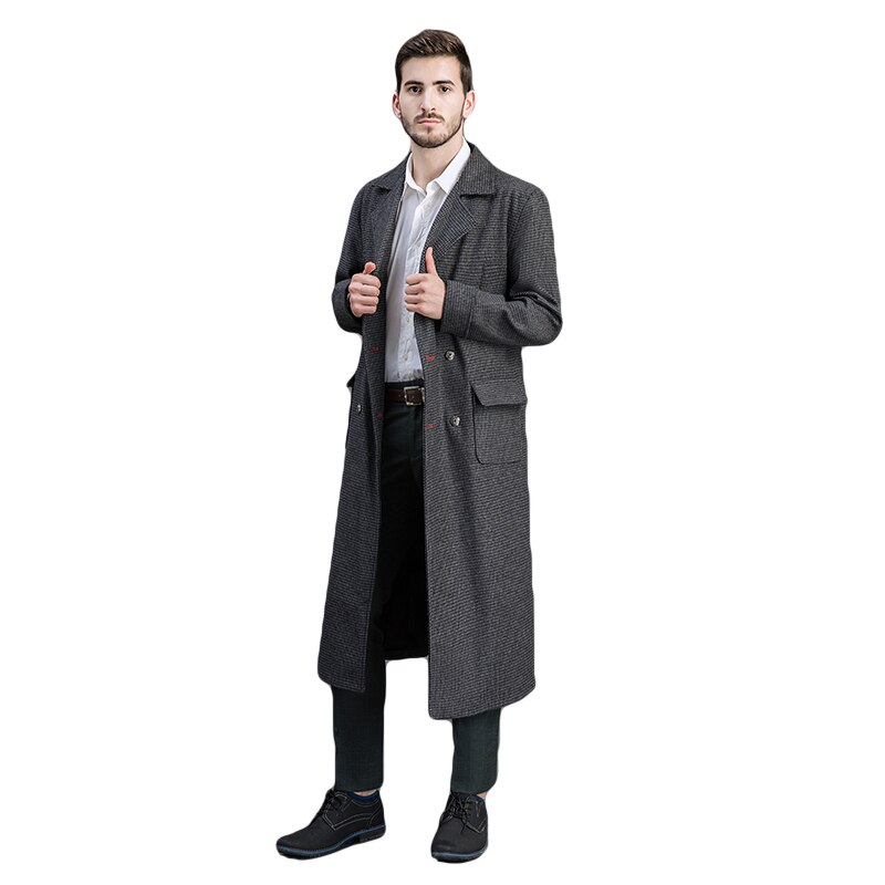 Run Large Size M Men Lapel Collar Double Breasted Wool Blend Overcoat British Style Slim Fit Long Coat Outwear Male Checks One