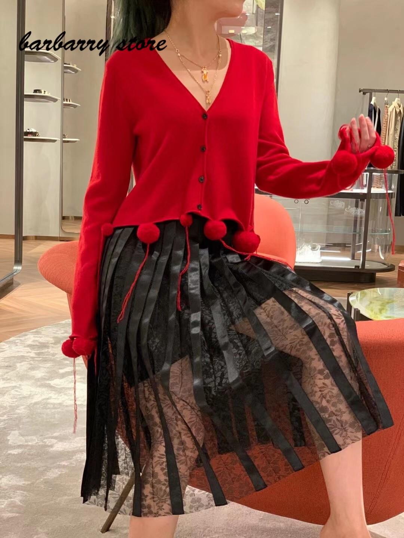 2021 luxury design high-end wool ball decoration hem fashion cardigan temperament versatile V-Neck long sleeve knitted coat enlarge