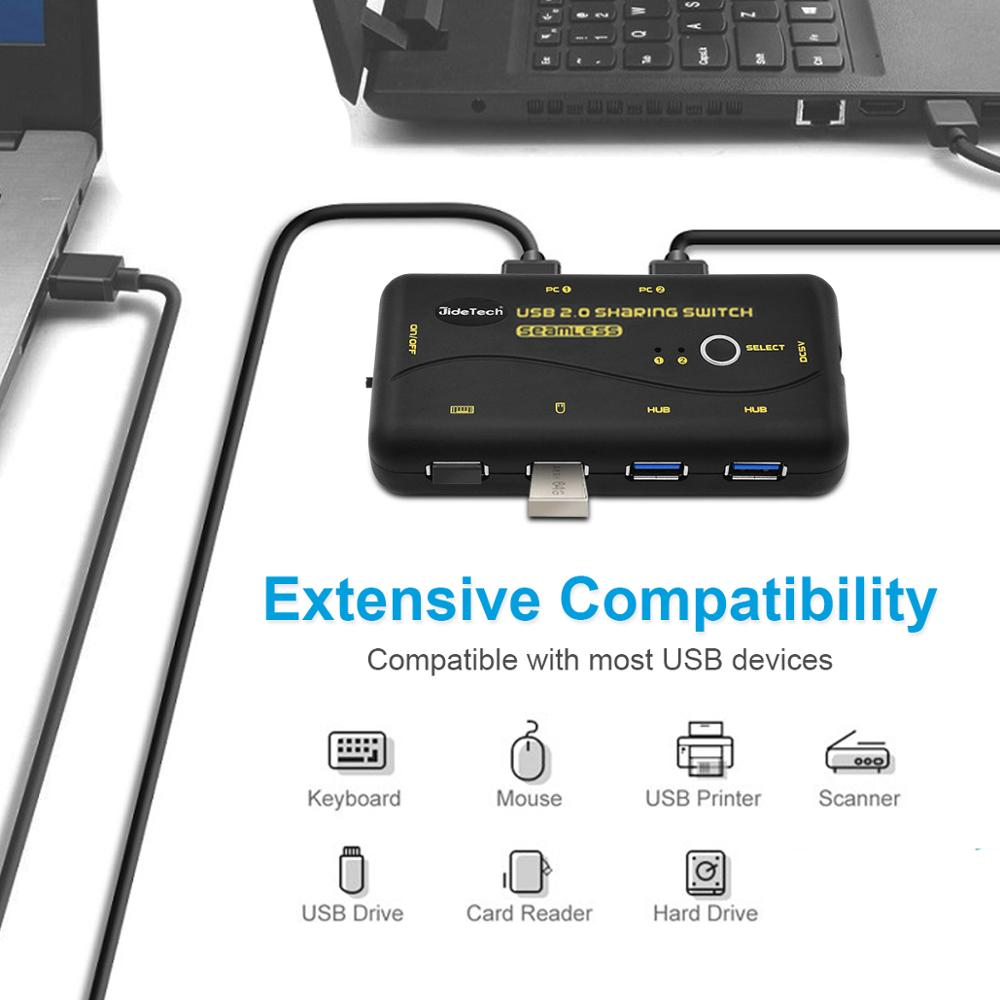 usb 2.0 sharing switch 2in 4 out seamless switch Compatible with windows10 MAC OS Linux, Unix, Dos, NT , Android systems enlarge