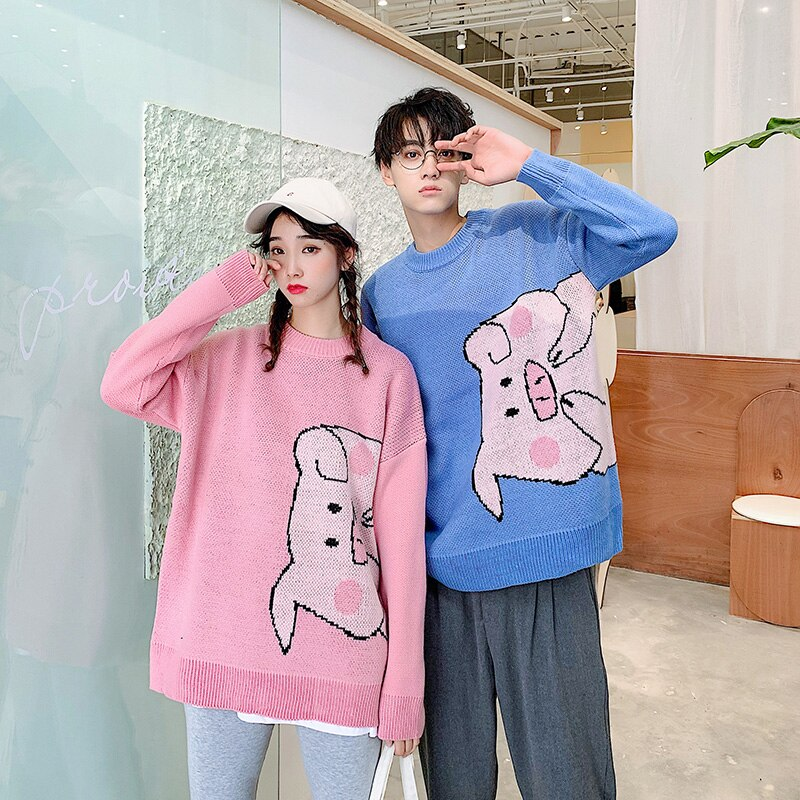 Couple Pink Pig Graphic Sweater for Winter Mens Autumn Clothes University Long Sleeve Pullover Tops Vintage Knit Crewneck Jumper
