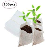 100 pcs/set Non-woven nursery bag Seedling Plants Organic Biodegradable  Fabric Eco-friendly Ventilate Growing Planting Bags