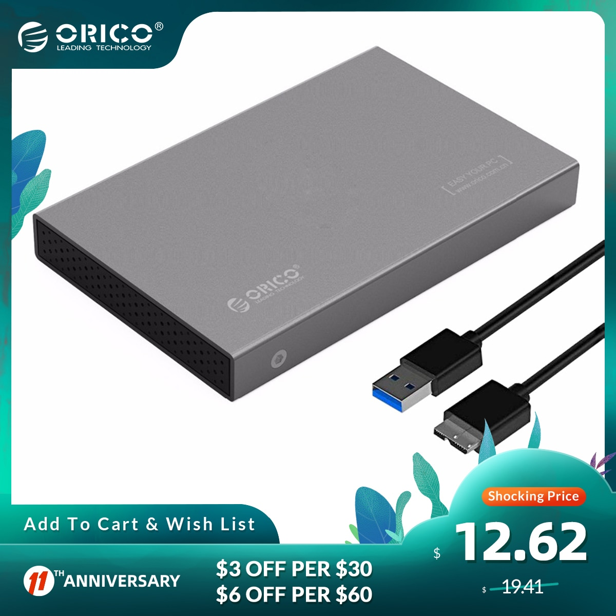 ORICO Aluminum USB3.0 to SATA3.0 HDD Case 2TB 5Gbps 2.5 inch Hard Drive Enclosure Support 7mm & 9.5mm UASP Transfer Protocol