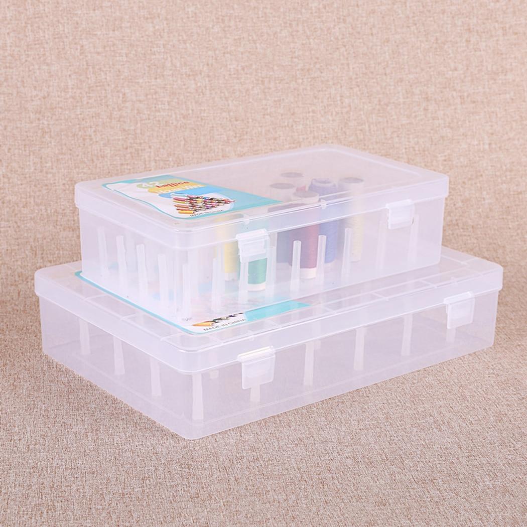Plastic Bobbin Box Sewing Bobbins Threads Storage Sorting Case Organizer Earring Box For Jewelry Rectangle Box Case 1Pcs