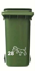 3 x wheelie bin/reciclagem casa número etiqueta & filhote de cachorro preto branco