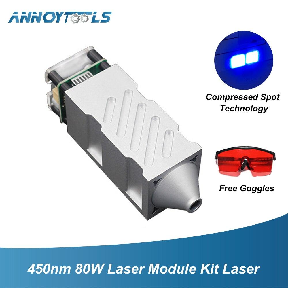80W Laser Module Kit Laser Head 450nm TTL PWM Engraving Metal Cutting Wood Machine Tool Compressed Spot Technology+Laser Glasses