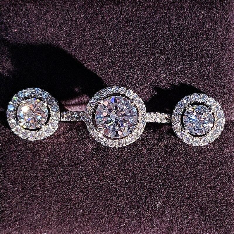 925 Sterling conjunto de joyas de plata halo anillo de compromiso pendiente redondo para boda navidad regalo del Día de San Valentín fiesta J416