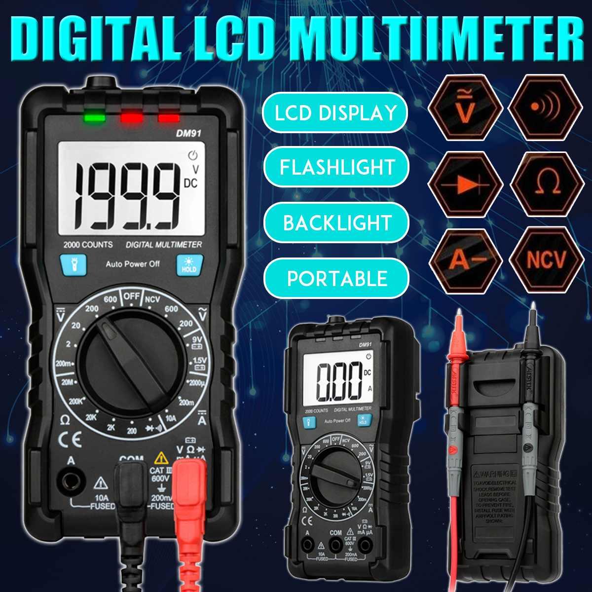 Multímetro Digital DM91, medidor de voltímetro multifunción de frecuencia de diodo de voltaje AC/DC, medidor de voltímetro de corriente LCD, medidor amperímetro