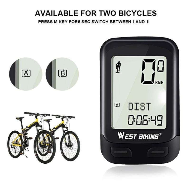 West ciclismo impermeable Noctilucent 5 idiomas bicicleta ordenador inalámbrico ciclismo kilometraje MTB bicicleta reloj LED pantalla velocímetro