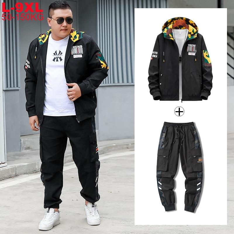 Plus Size 7xl 8xl 9xl Loose Oversized Sportswear Suit Tracksuit Men Jacket Sets Mens Sports Cargo Pants Tracksuits 2 Piece Set