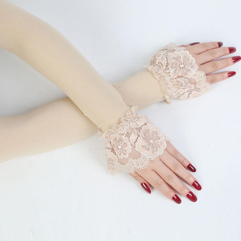 1 пара кружево рука рукав покрытый резинка рукав вождение перчатки длинные без пальцев лето солнцезащитный крем кружево перчатки женщины лед шелк варежки
