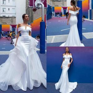 Gorgeous Mermaid Wedding Dresses With Detachable Train Off Shoulder Country Wedding Dress Bridal Gowns Plus Size Abiti Da Sposa