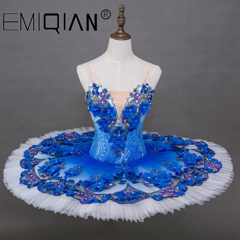زي رقص باليه أزرق ملكي كلاسيكي لأداء الكبار ، فستان فطائر توتو ، باليه توتو احترافي