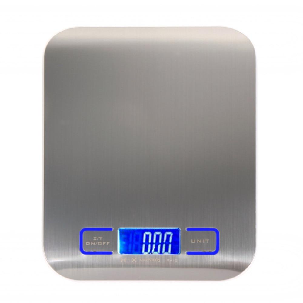 Básculas Digitales de cocina de 11LB/5000g, pantalla LED de acero inoxidable para alimentos, báscula electrónica, herramientas de medición, Libra