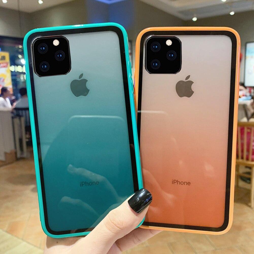 Роскошный прозрачный градиентный чехол для телефона мягкий цвет градиента + акриловая пластина чехол для iPhone 11 Max XR X 8 7 Plus 6S Чехол