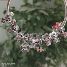 925 Sterling Zilver Mickey Mouse & Minnie Pluto Kat Dalmatiërs Patch Stitch Charm Collection,Fit Originele Armband Vrouwen Sieraden