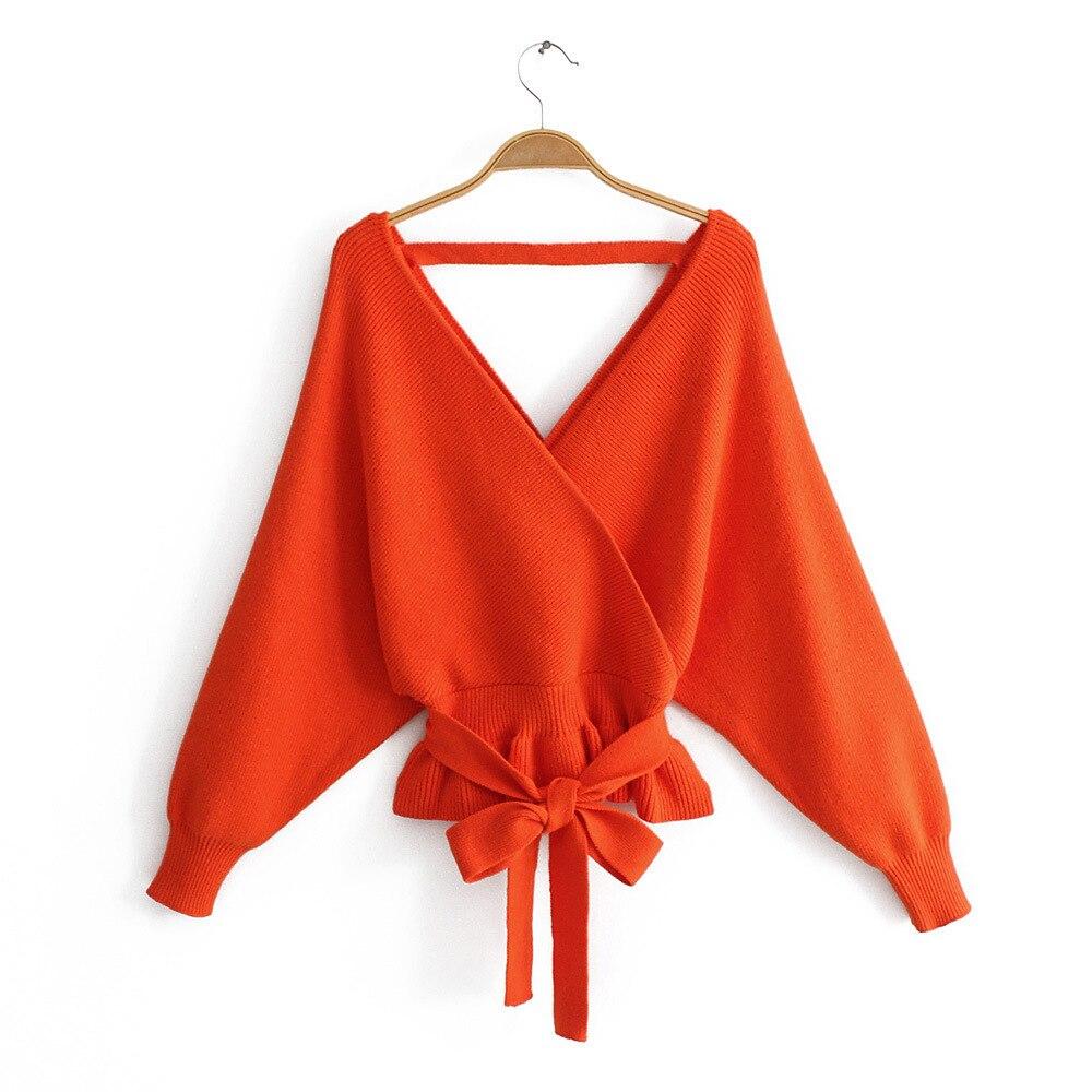 Camisola de manga de morcego crossvcollar feminino