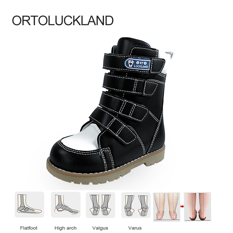 Ortoluckland-أحذية جلدية لتقويم العظام للأطفال ، وأحذية ربلة الساق للأطفال مع خطاف فيونكة ، وأحذية تصحيحية عالية