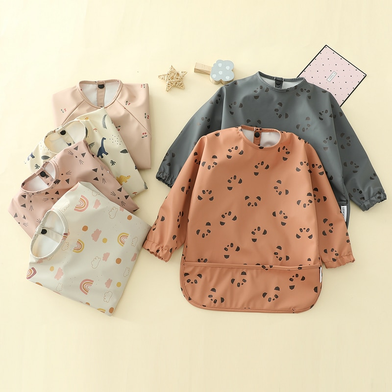 Baby Kids Toddler Long Sleeve Scarf Waterproof Art Smock Feeding Bib Apron Pocket Infant Boys Girls Burp Cloth Bibs Drooling