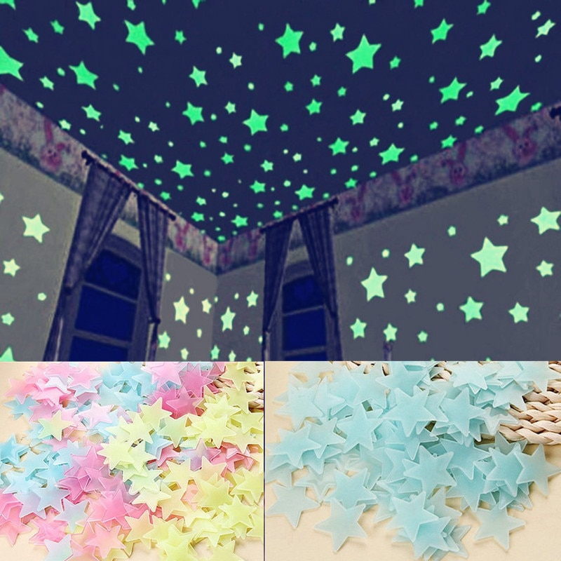 100pcs set fluorescent stars glow in the dark toys for children s bedroom decoration baby kids glow pentagram adhesive stickers 100PC/Lot Kids Bedroom Fluorescent Glow In The Dark Stars Glow Wall Stickers Stars Luminous luminous Glow Sticker