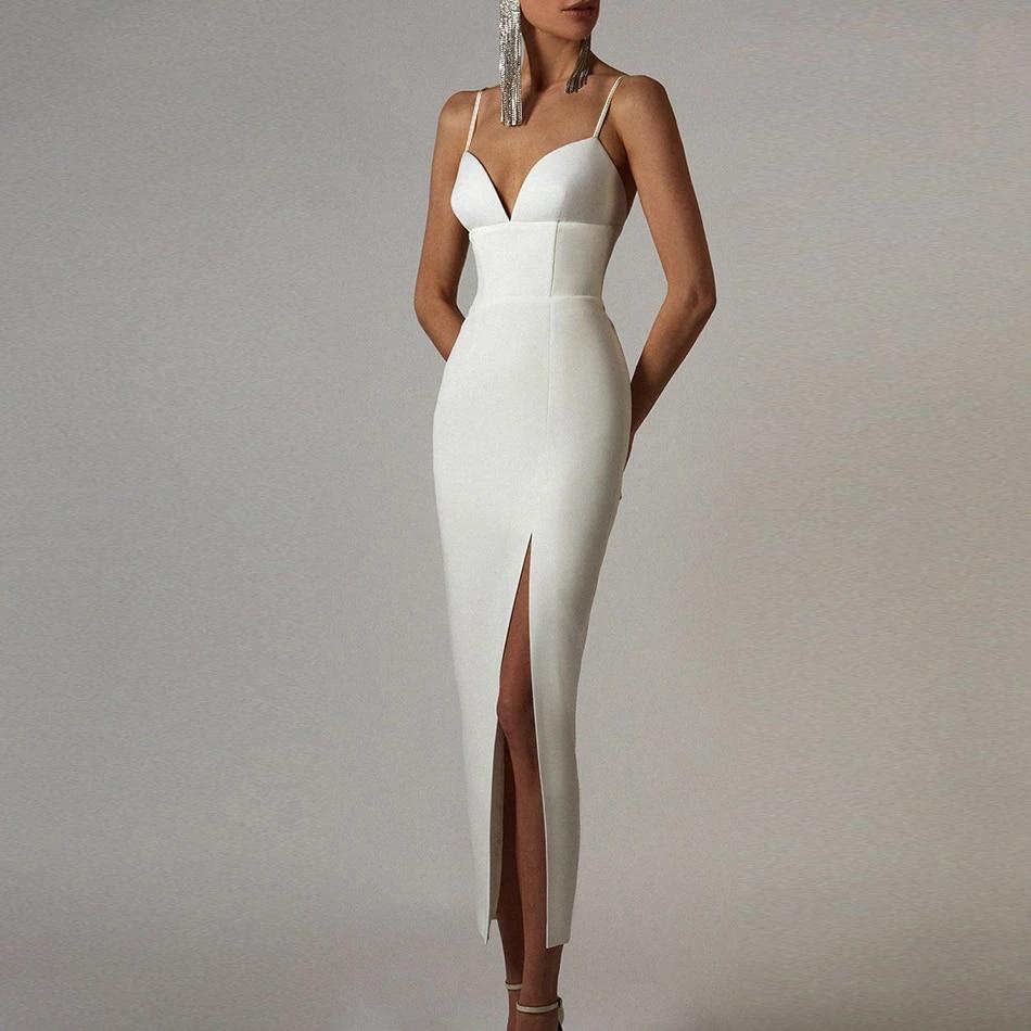 Adyce جديد الصيف المرأة الأبيض Bodycon ضمادة فستان مثير الخامس الرقبة السباغيتي حزام نادي المشاهير مساء المدرج فساتين الحفلات الطويلة