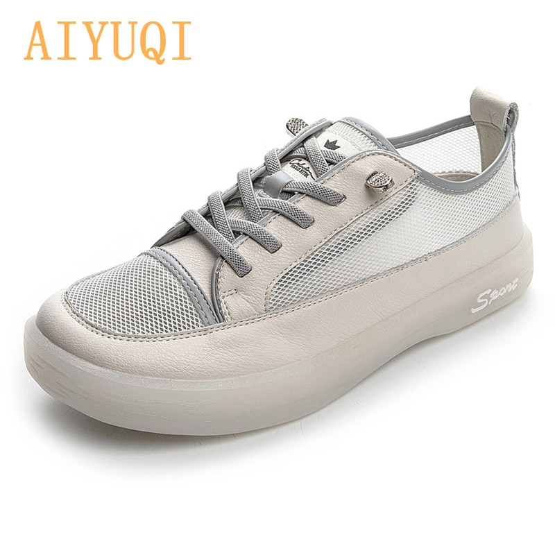 AIYUQI Women's Sneakers 2021 Summer New Genuine Leather Mesh Shoes Women Breathable Lace Up Large Si
