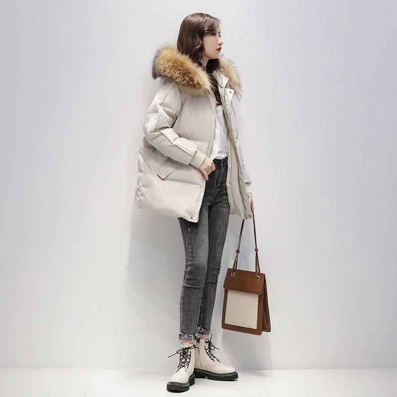 Новинка, осенне-зимняя теплая толстая верхняя одежда, классические пуховики с меховым воротником, городские женские модные повседневные ко...