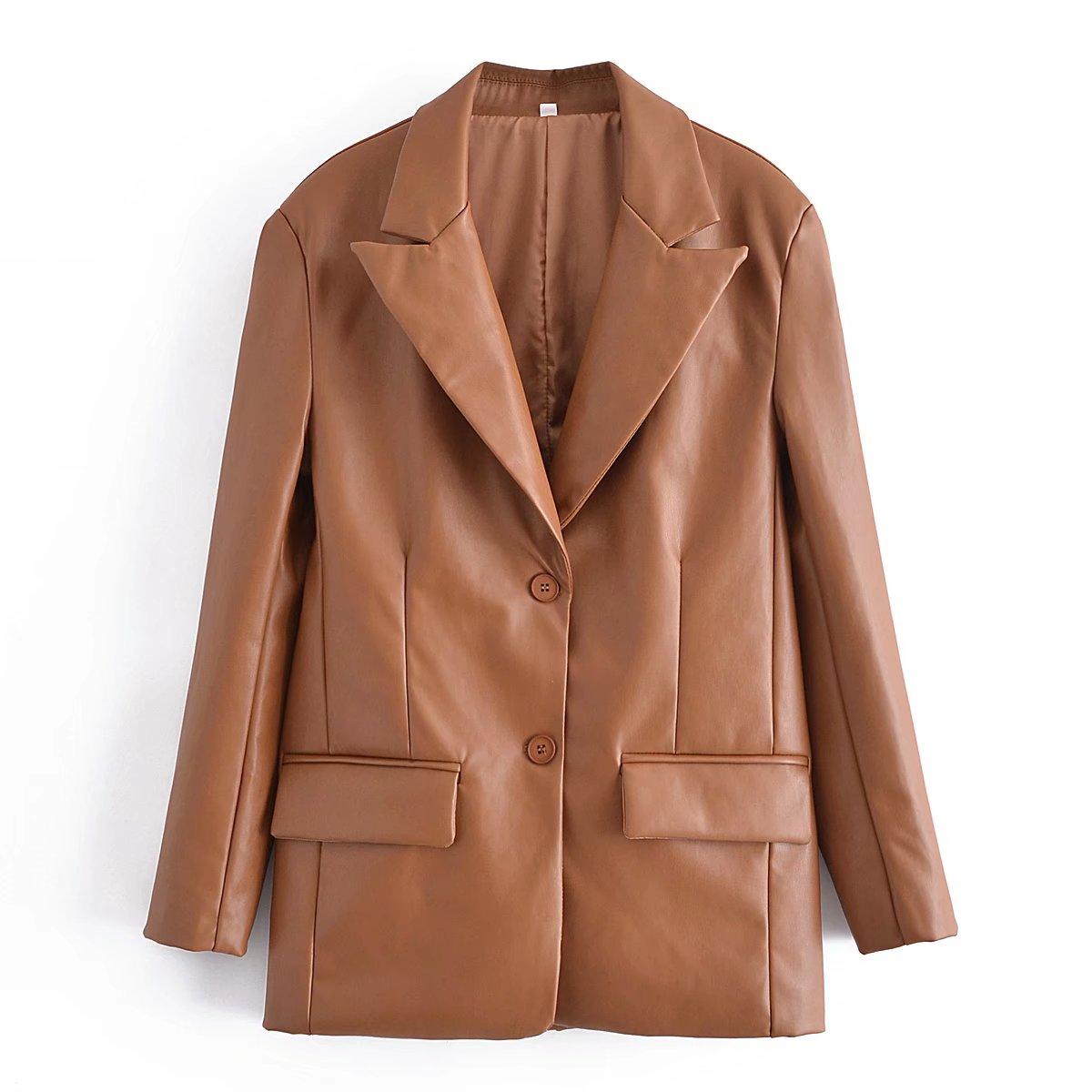 Длинные блейзеры из искусственной кожи коричневого цвета, женская кожаная куртка, пальто, брендовые новые женские куртки, верхняя одежда, Ж...