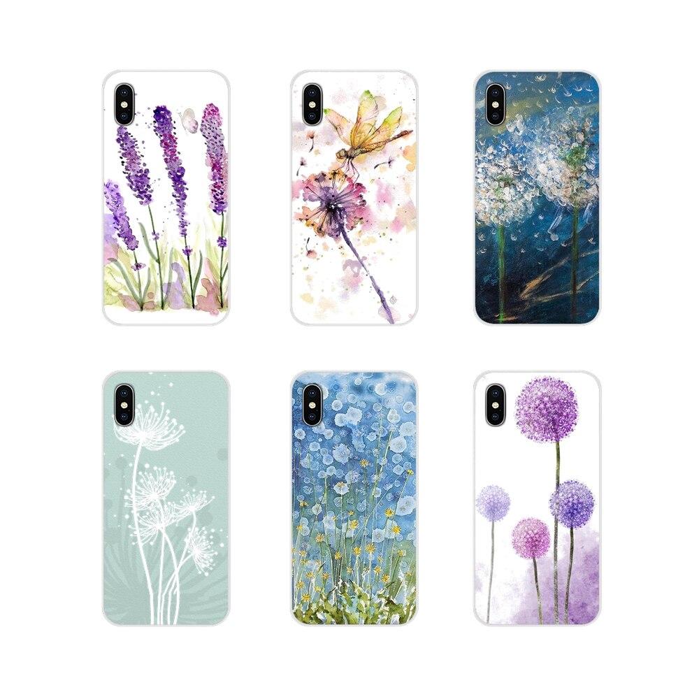 Für Huawei Honor 4C 5C 6X 7 7A 7C 8 9 10 8C 8S 8X 9X 10I 20 Lite pro Soft Shell Deckt Aquarell Blume Löwenzahn Lotu Lavendel