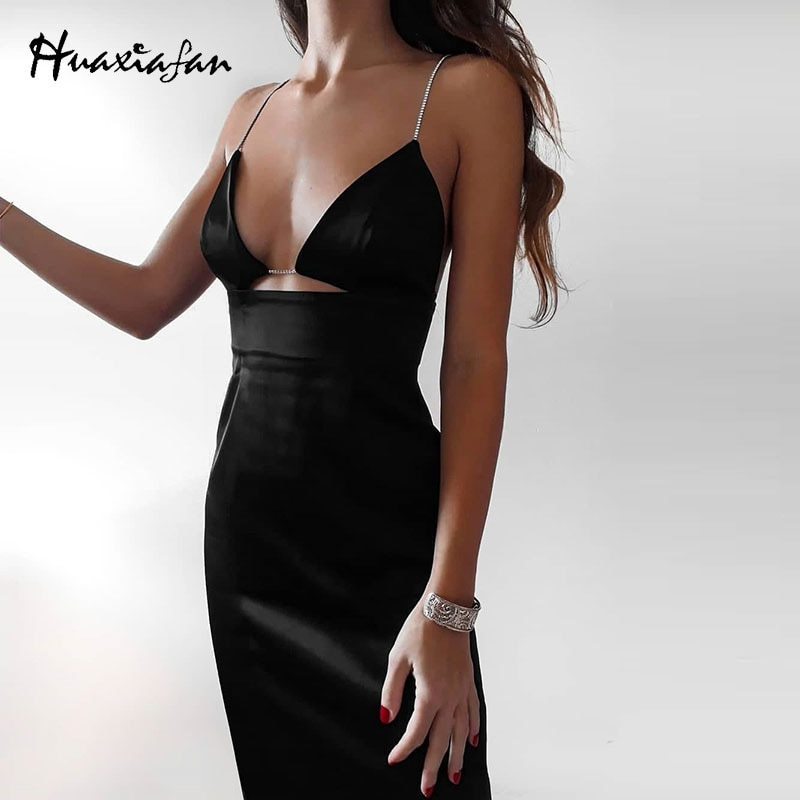 AliExpress - Huaxiafan Slip Dress Women Summer Vestidos Black Sexy Diamonds Strap Elegant Ladies Party Za Brand Midi Dresses Female 2021 New