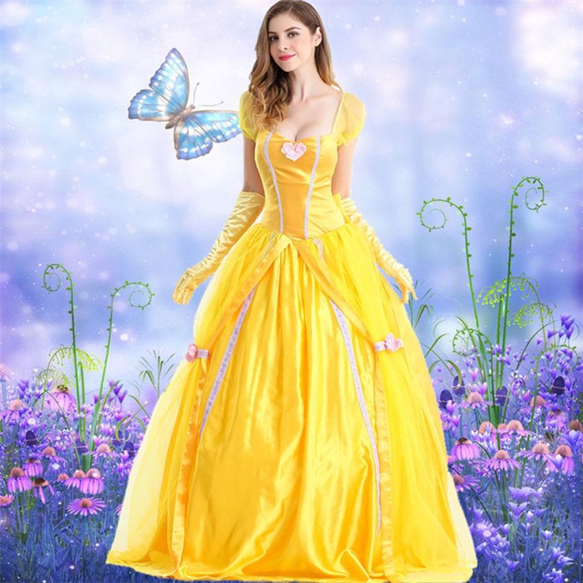 Adultos Woen Cosplay disfraces La Bella y La Bestia Belle princesa vestido amarillo Sexy elegante boda fiesta ropa Medieval