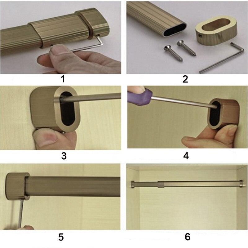 thick aluminum alloy clothes organizing rails adjustable wardrobe closet hanger rod clothing rack with rail flange enlarge