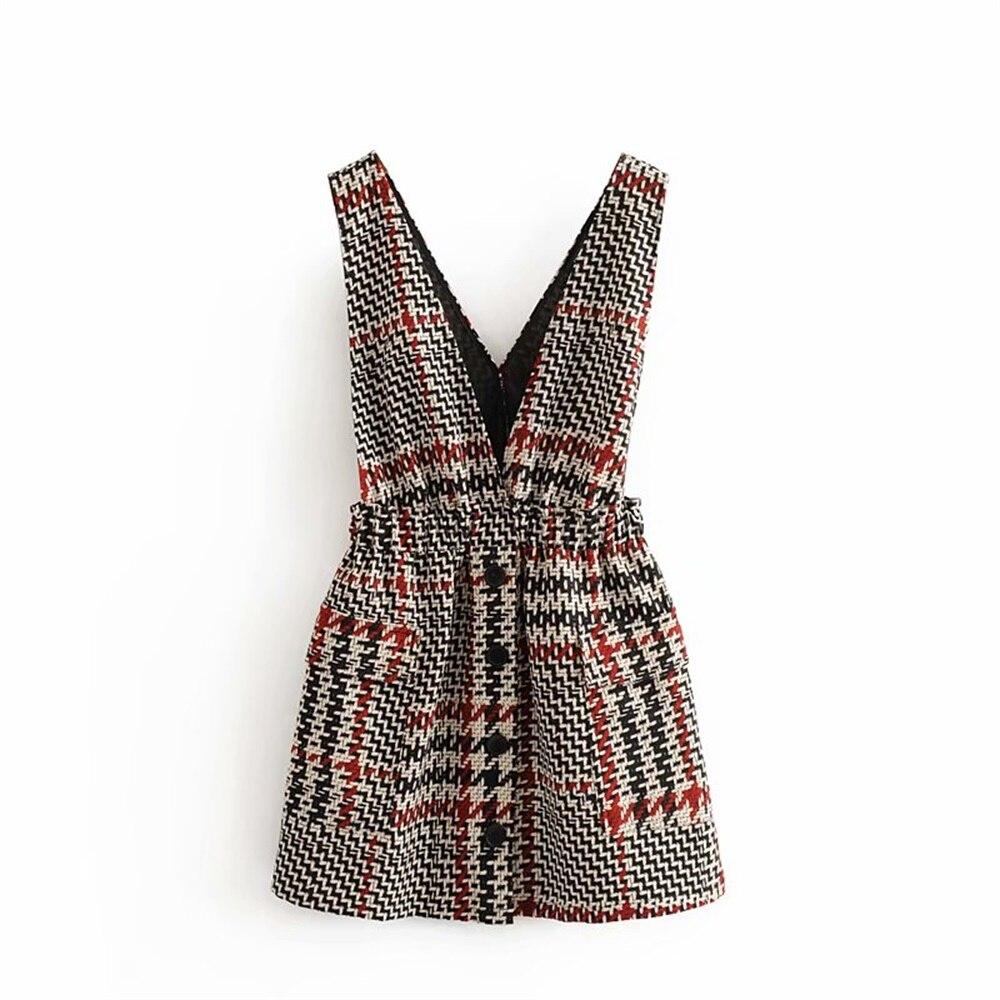 Za mujeres otoño 2019 nuevo sin mangas profundo cuello pico elástico chaleco vestido con botones y chaleco de cuadros brillantes vestido 0883911306