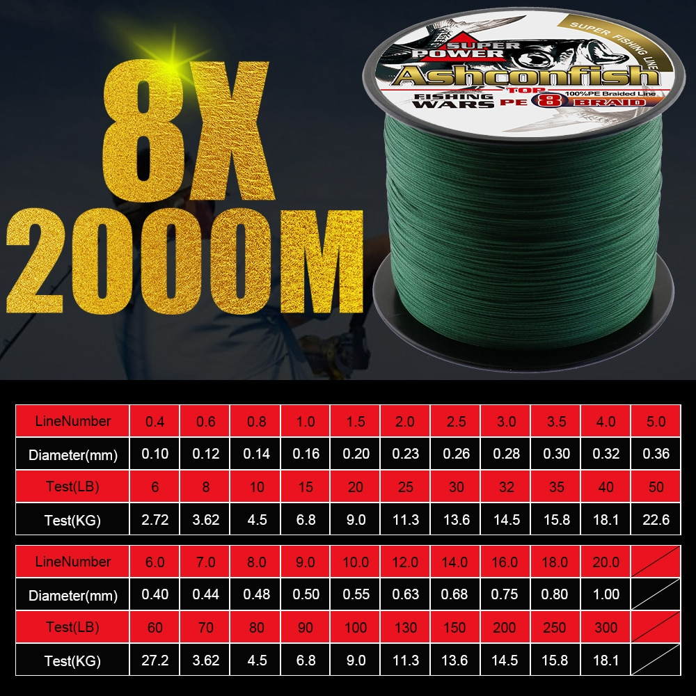 super long line 2000M braided line fishing 6Lb-300LB thred pe fiber wires 8x 0.1mm-1.0mm ice fishing deep sea fishing rope cord