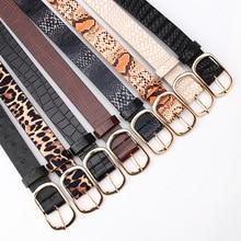 Cinturón Vintage con estampado de leopardo y serpiente para mujer, a la moda cinturón de cuero, negro, 2021