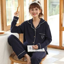 Pajamas for Women Cotton Long Sleeve Nightwear Heart Embroidery Autumn Pijama Set Turn-down Collar S