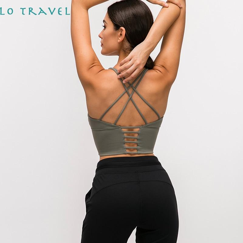 LOTRAVEL Gym kleidung Laufen Fitness sportswear Top Frauen Weiche Nylon Sport Yoga Bras Tops Anti-schweiß Padded Workout Büstenhalter