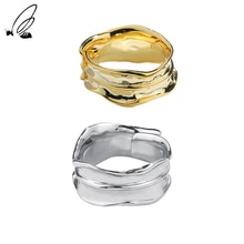 S'STEEL Sterling Silver 925 Retro Personality Irregular Opening Can Be Adjusted Ring Women's Wedding