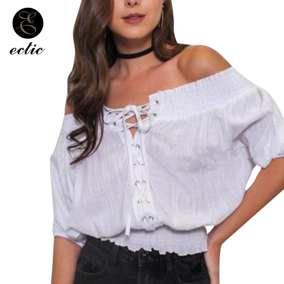 Top con hombros descubiertos para mujer 2019, camiseta Sexy con Cruz de Bluz Dames, ropa estética para mujer, camiseta plisada Kawaii Punk de talla grande