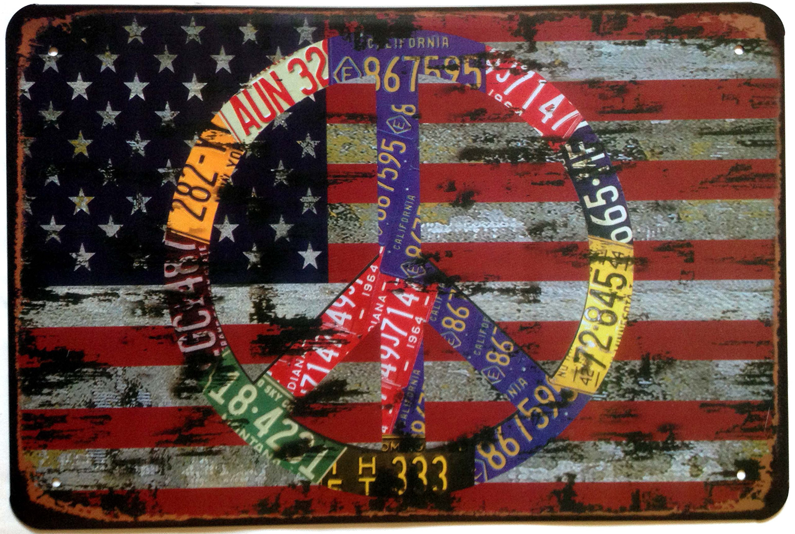 Cartel de hojalata Vintage Retro de los EEUU de la bandera de la paz de nokar I Love America de 12 pulgadas X 8 pulgadas