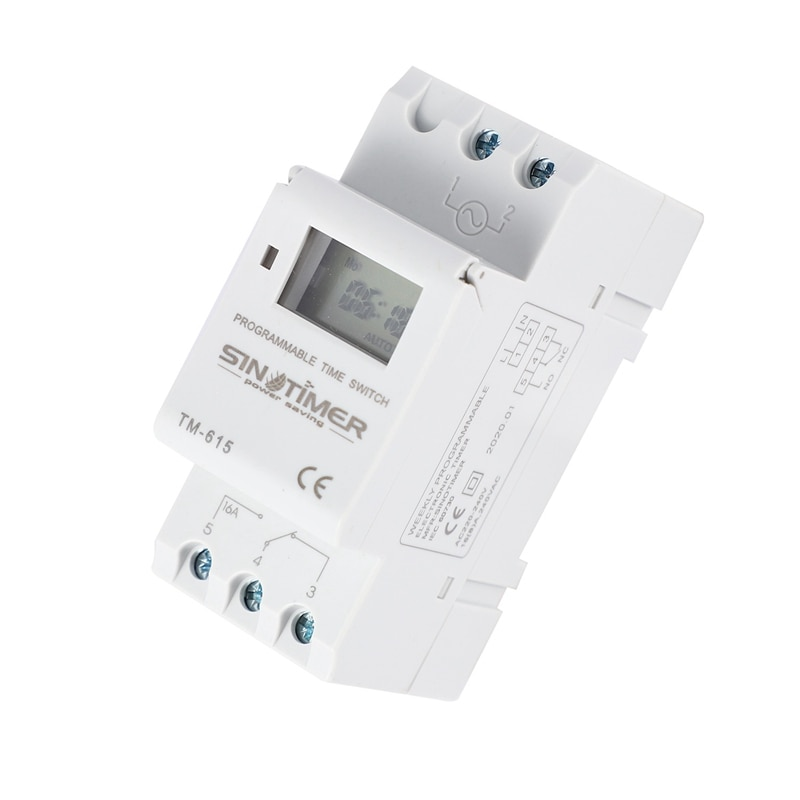 LBER Sinotimer Tm-615H-30A electrónico semanal 7 días programable interruptor de tiempo Digital relé temporizador Control Ac 30A Din Rail Mount